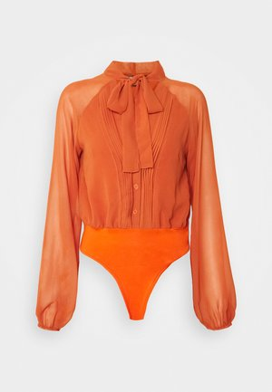 TIE NECK PINTUCK DETAIL BODYSUIT - Blouse - rust