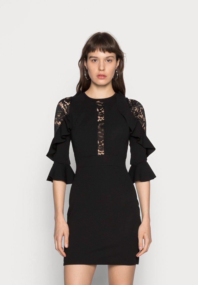 WAL G. - RUFFLE SLEEVE INSERT MINI - Cocktail dress / Party dress - black