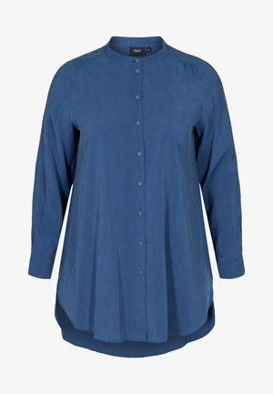 LONG - Button-down blouse - blue