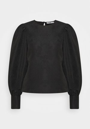 STRUCTURED BIG PUFF SLEEVE BLOUSE - Long sleeved top - black