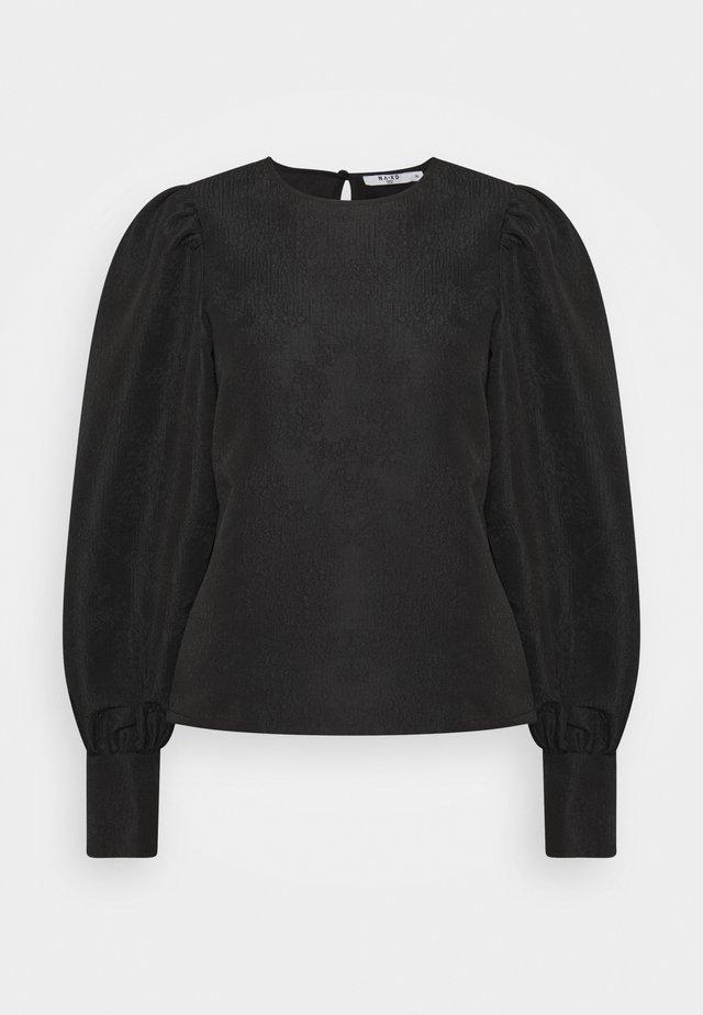 STRUCTURED BIG PUFF SLEEVE BLOUSE - Bluzka z długim rękawem - black
