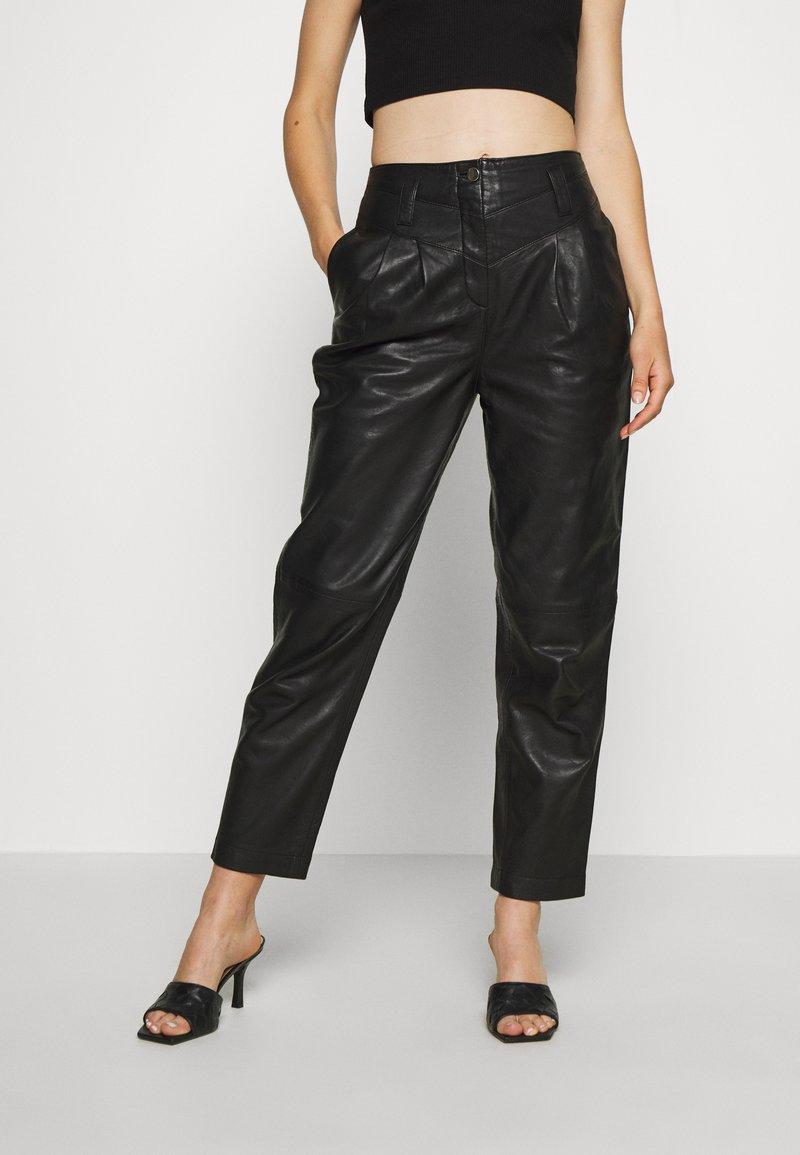 Topshop - ELLA  - Leather trousers - black