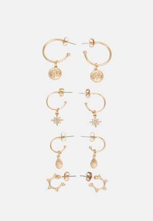 PCLAUREN HOOP EARRINGS 4 PACK - Øreringe - gold-coloured