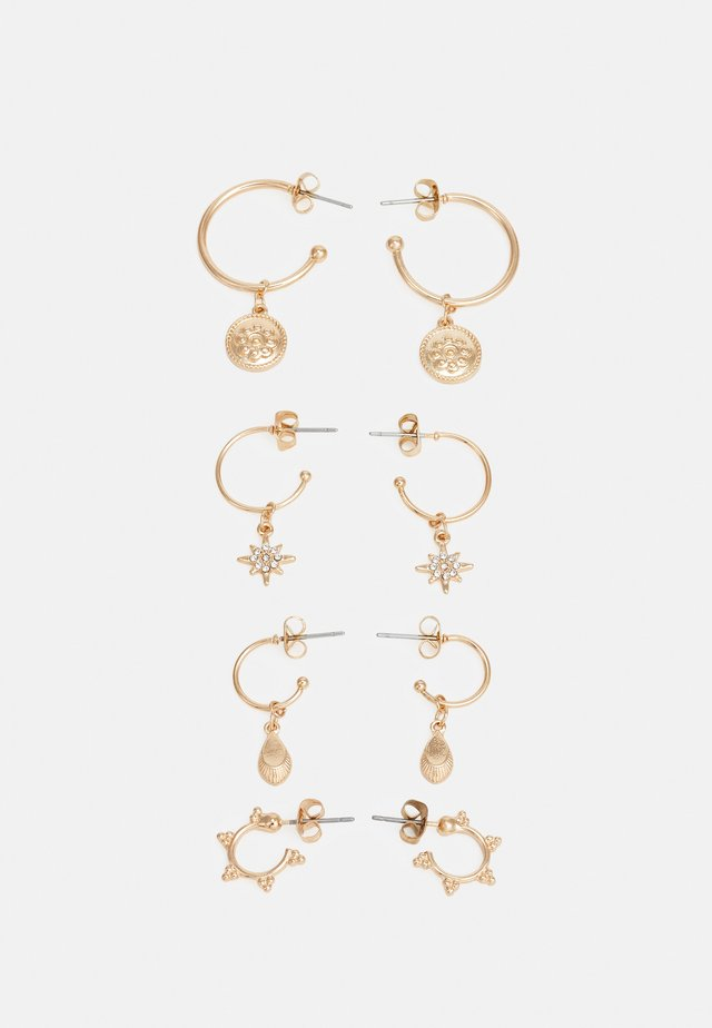 PCLAUREN HOOP EARRINGS 4 PACK - Pendientes - gold-coloured