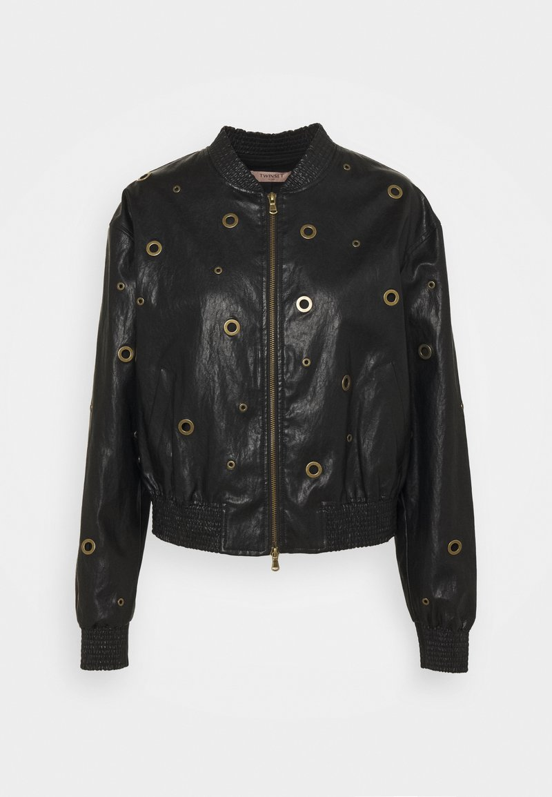 TWINSET - BOMBER IN TESSUTO - Faux leather jacket - nero