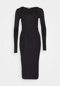 Missguided - SCOOP NECK SELF TIE MIDI DRESS - Shift dress - black - 3
