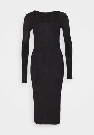 SCOOP NECK SELF TIE MIDI DRESS - Vestido de tubo - black
