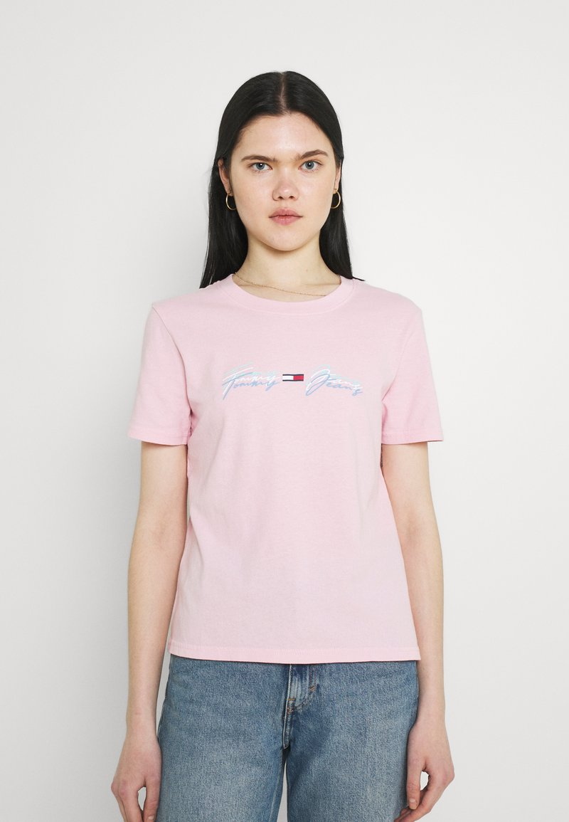 Tommy Jeans - LINEAR LOGO TEE - T-shirts med print - romantic pink