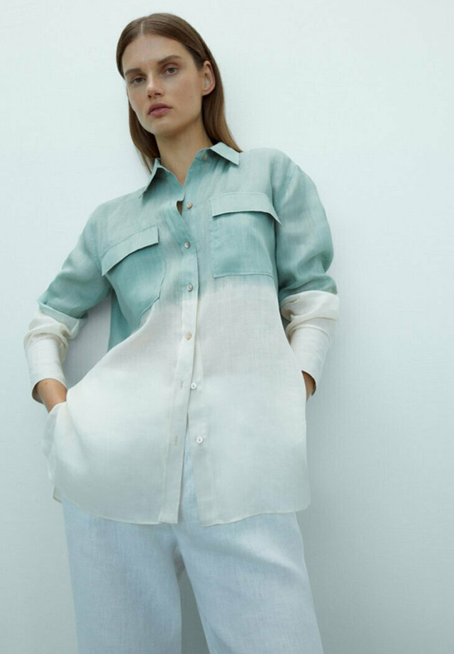 Overhemdblouse - turquoise