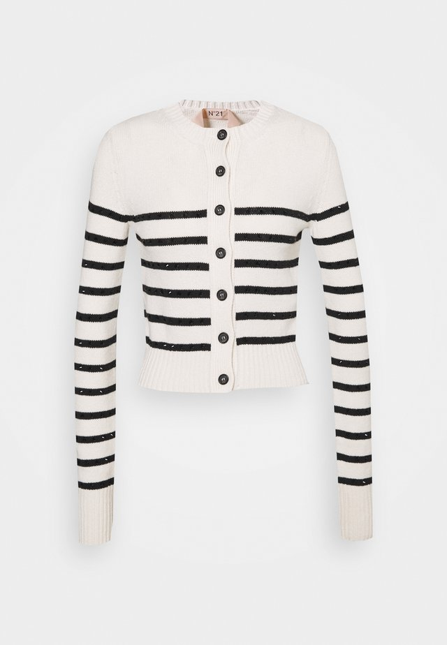 STRIPED CARDIGAN - Cardigan - ecru