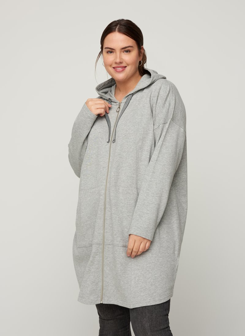 Zizzi - Zip-up hoodie - light grey
