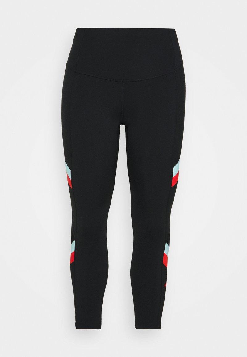 Nike Performance - STRIPE 7/8  PLUS - Leggings - black/chile red