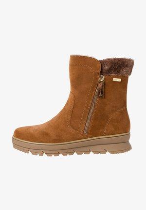 Ankle boots - cognac suede