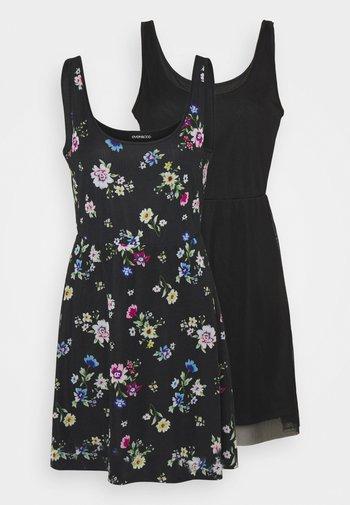 2 PACK - Sukienka etui - black/multi-coloured