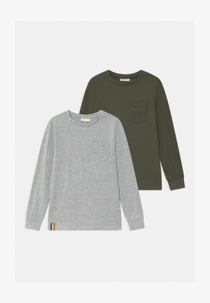 2 PACK - Long sleeved top - grey/oliv