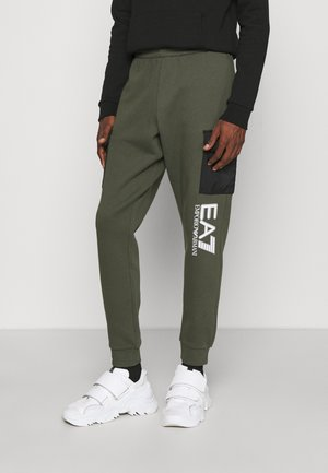 Tracksuit bottoms - olive/white