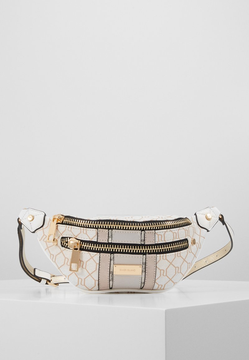 River Island - CHECKERBOARD BUMBAG - Bæltetasker - light grey