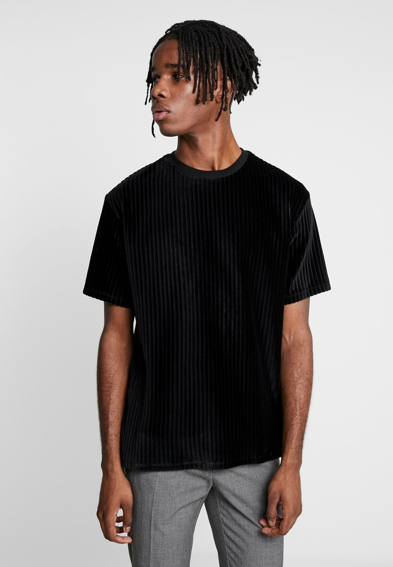 Topman - BURN OUT STRIPE TEE - T-shirt - bas - black