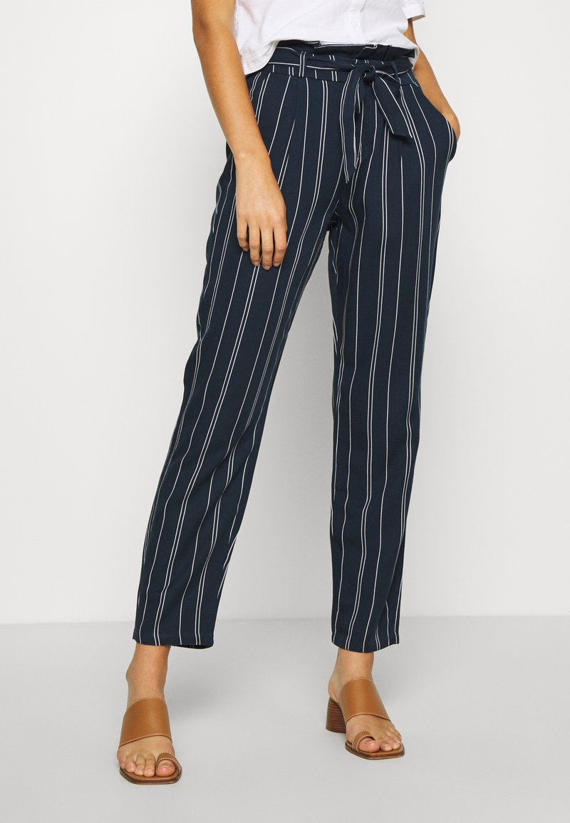 Vero Moda - VMEVA LOOSE PAPERBAG STRIPE PANT - Trousers - navy blazer/birch