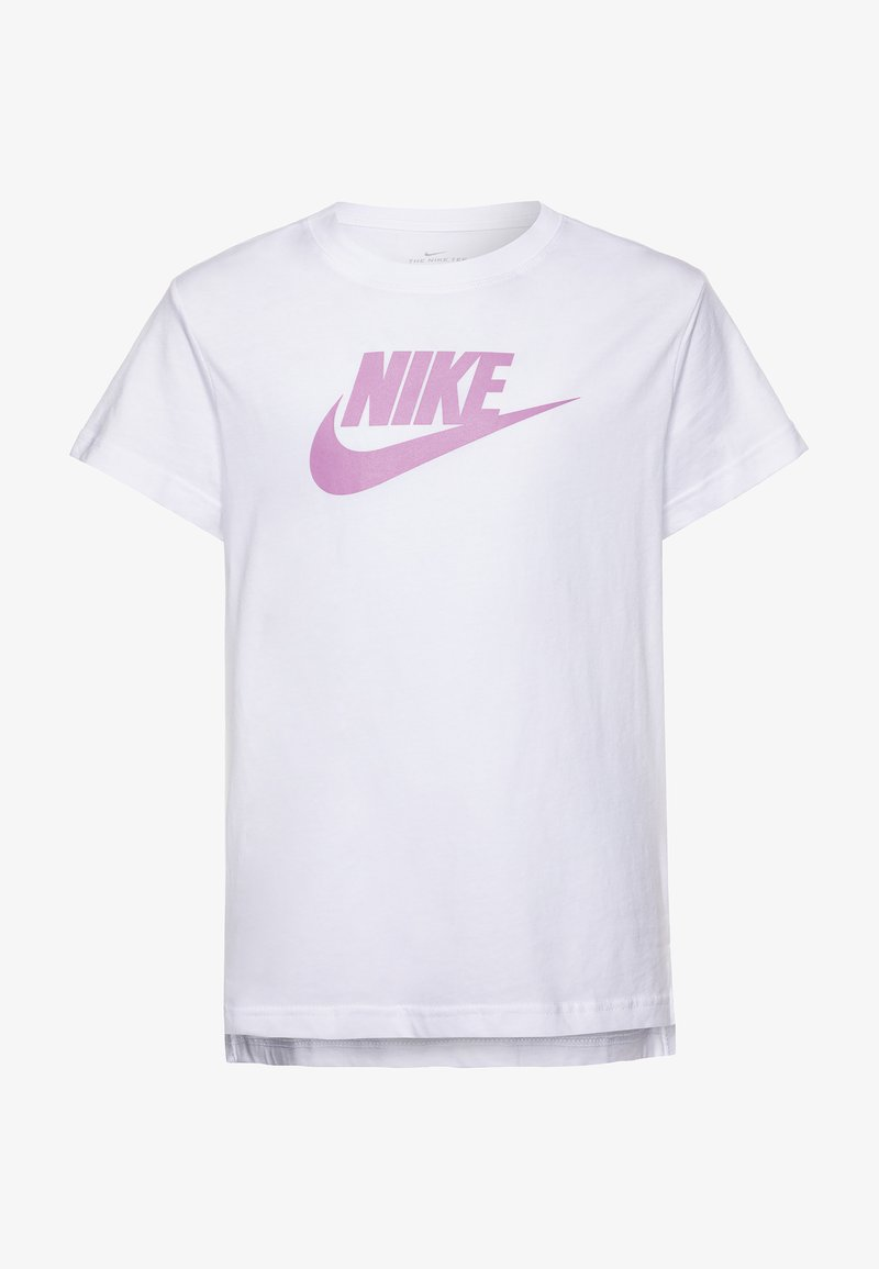 Nike Sportswear - TEE BASIC FUTURA - T-shirt z nadrukiem - white/magic flamingo