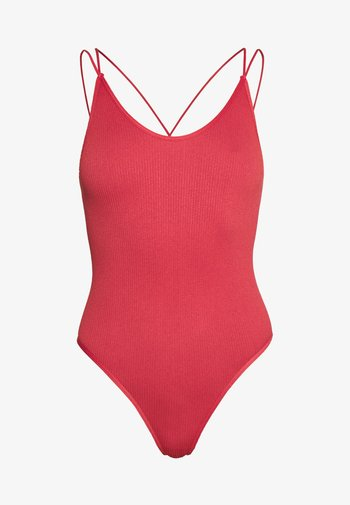 THONG STRAPPY BACK BODYSUIT - Topper - mineral red