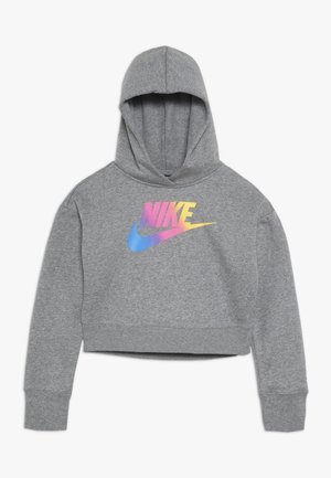 CROP - Hoodie - carbon heather/white