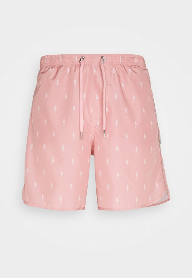 ALL OVER SMALL THUNDERBOLT - Shorts - dark pink/pink