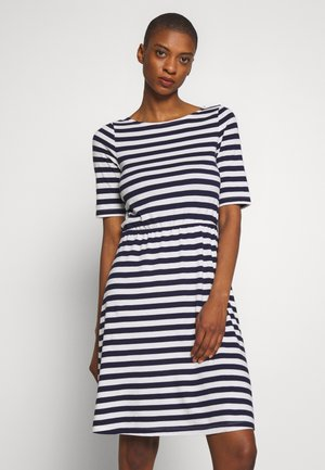 BASIC  - Jersey dress - maritime blue/cloudancer stripe