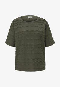 TOM TAILOR - TOM TAILOR T-SHIRT OVERSIZED-T-SHIRT MIT STRUKTURMUSTER - Print T-shirt - woodland green - 5