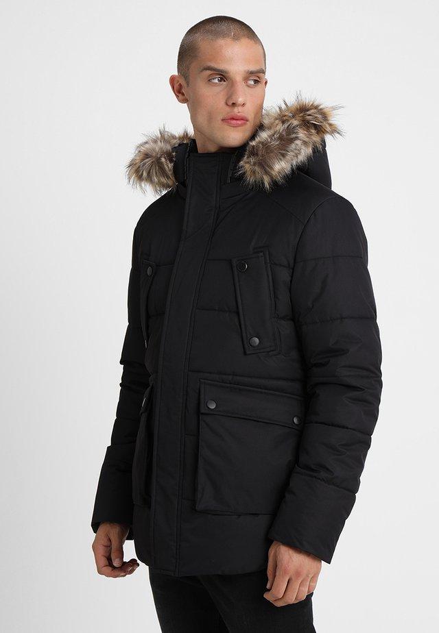 FAKE FUR HOODED - Winter jacket - black