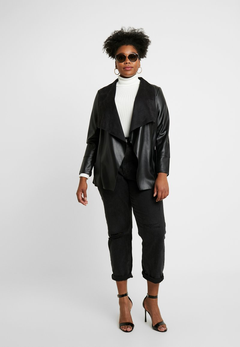 Evans - WATERFALL JACKET - Faux leather jacket - black