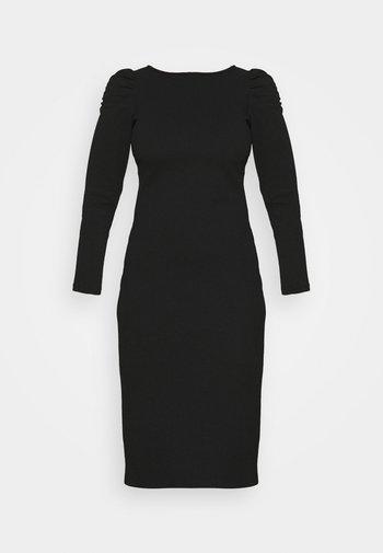 RUCHED SLEEVE BODYCON DRESS - Pouzdrové šaty - black