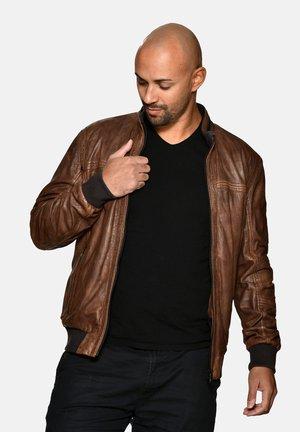 MIT STRICKABSCHLUSS - Leather jacket - whisky