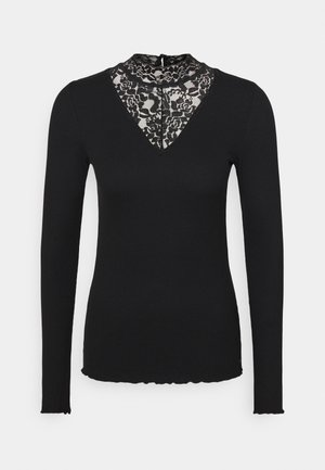 LONGSLEEVE WITH MOCK NECK - Long sleeved top - deep black