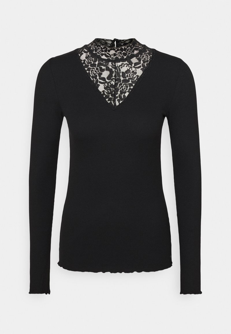 TOM TAILOR DENIM - LONGSLEEVE WITH MOCK NECK - Long sleeved top - deep black