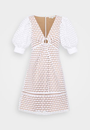 GEO EYELET MINI DRESS - Denní šaty - white