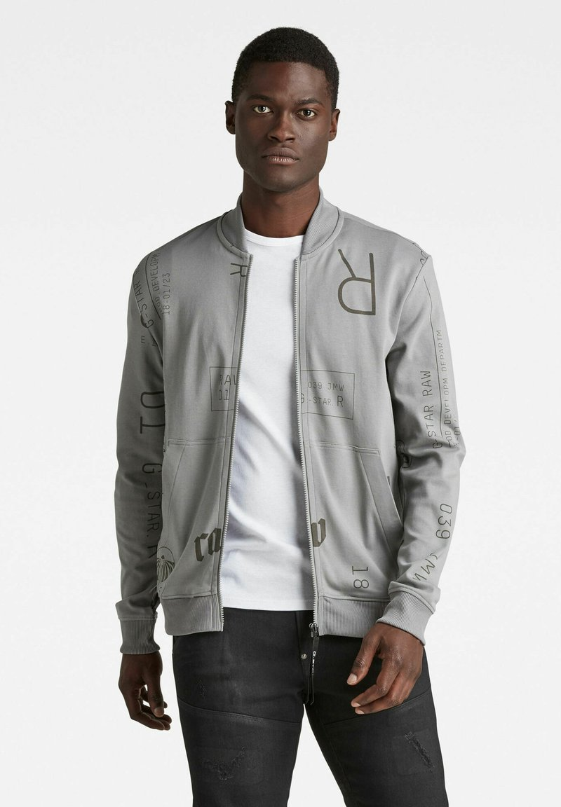 G-Star - EXTREME ALLOVER BASEBALL TWEETER - Zip-up hoodie - grey