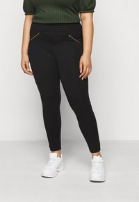 CAPSULE by Simply Be - ZIP DETAIL SHAPER - Leggings - Trousers - black - 0
