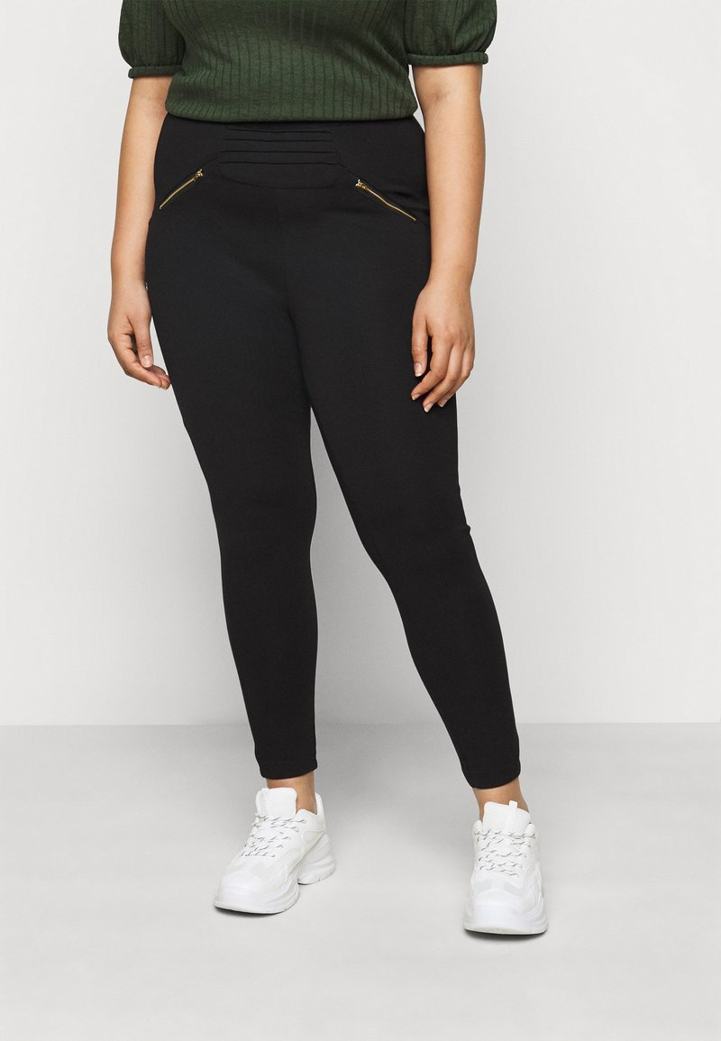 CAPSULE by Simply Be - ZIP DETAIL SHAPER - Leggings - Trousers - black