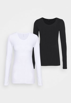 ONLLIVELOVE LIFE ONECK 2 PACK - T-shirt à manches longues - black/white