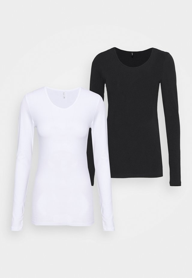 ONLLIVELOVE LIFE ONECK 2 PACK - Maglietta a manica lunga - black/white