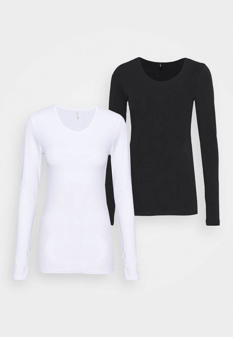 ONLY Tall - ONLLIVELOVE LIFE ONECK 2 PACK - Long sleeved top - black/white