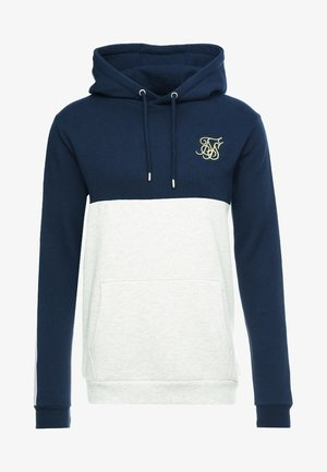 CUT & SEW TAPED HOODIE - Bluza z kapturem - navy/snow marl