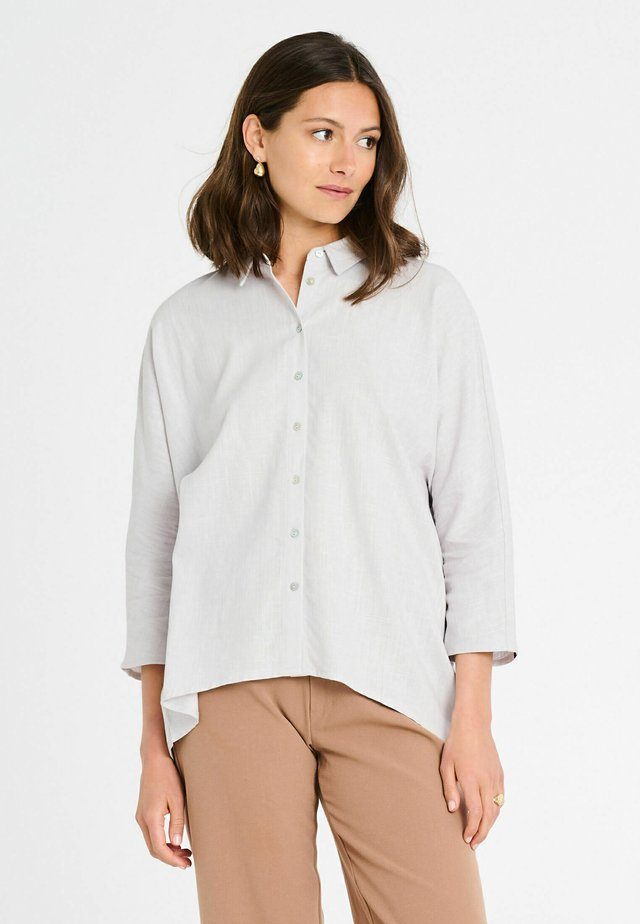 Button-down blouse - light grey