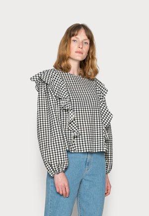 BLOUSE FRILL DETAIL LONGSLEEVE ELASTIC CUFFS - Print T-shirt - scandinavian white