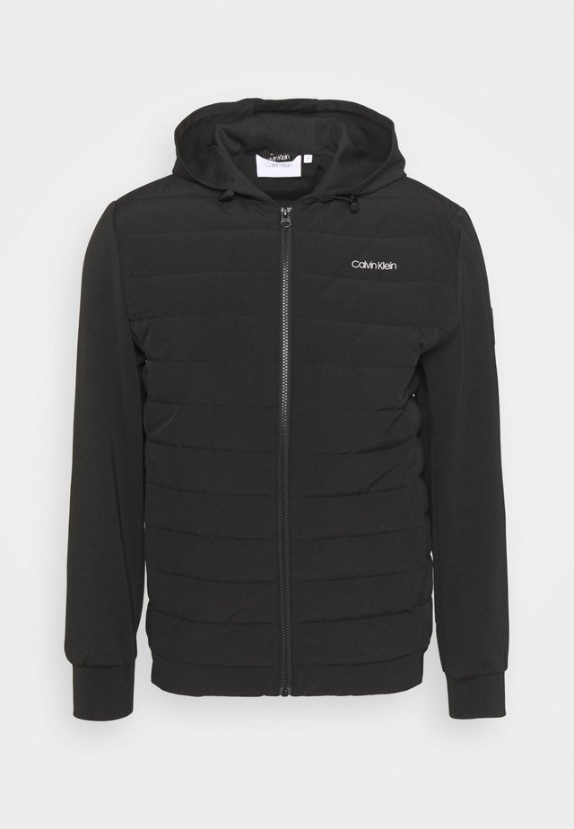 QUILTED MIX ZIP HOODIE - Light jacket - black