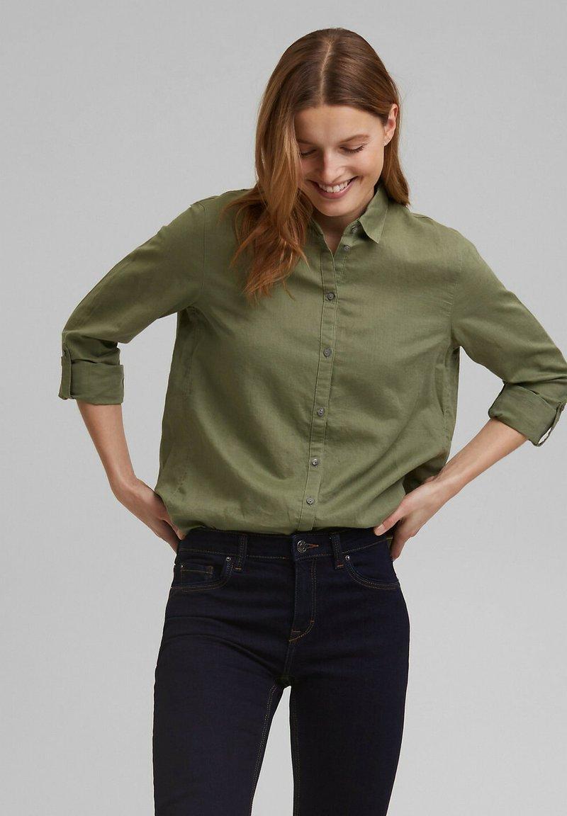 Esprit - CORE - Button-down blouse - light khaki