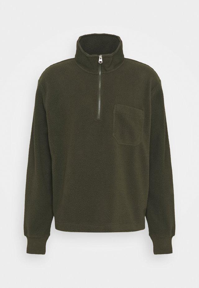 Fleece trui - khaki green dark