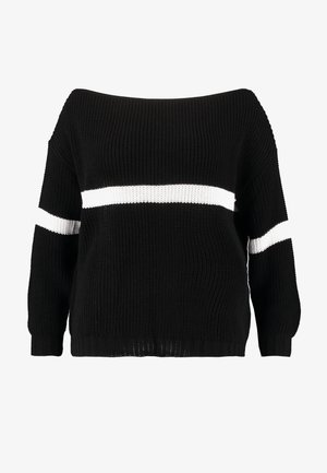 STRIPE OVERSIZED JUMPER - Strikpullover /Striktrøjer - black