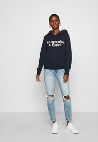 Abercrombie & Fitch - HERITAGE LOGO POPOVER - Hoodie - navy - 1